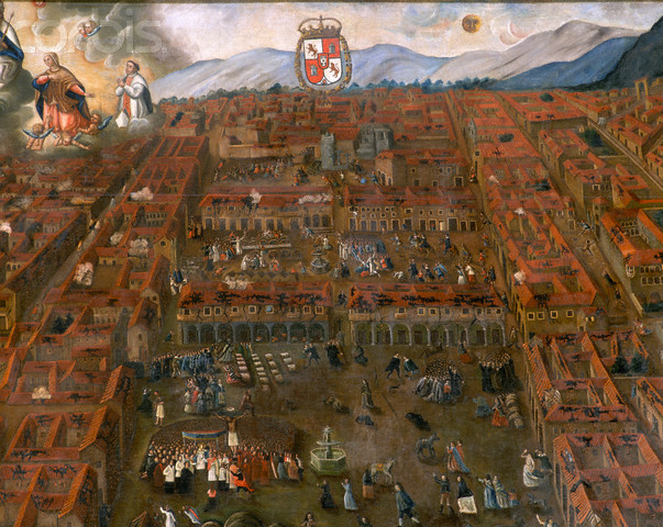 A painting in Cusco's Cathedral depicts the city following the earthquake of 1650. The work is attributed to Don Alonso Cortes de Monroy and is carried along the streets of Cusco every Easter Monday in commemoration of the event. Peru. --- Image by © Francesco Venturi/CORBIS