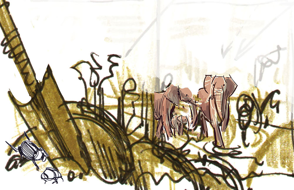 "A sketch of the elephants walking through a landscape with a kind of call-out diagram of dung beetles next to a shovel. Elephants are called ""mega-gardeners,"" so I was was trying to play with the metaphor and see where it led. In this case, nowhere."